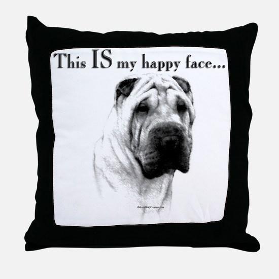 Shar Pei Happy Throw Pillow