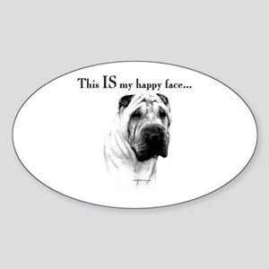 Shar Pei Happy Oval Sticker