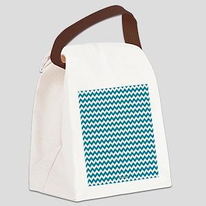 Chevron Teal Canvas Lunch Bag
