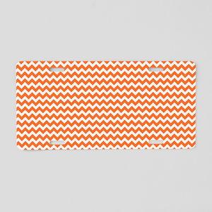 Chevron Orange Aluminum License Plate