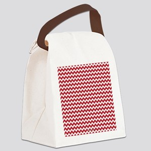 Chevron Red Canvas Lunch Bag