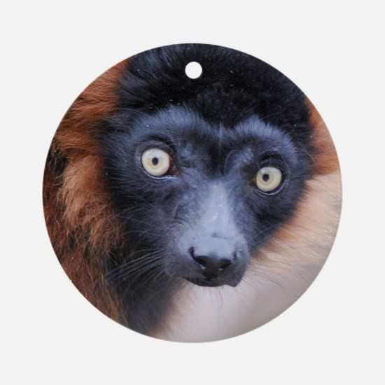 Red Ruffed Lemur 60 Curtains Round Ornament