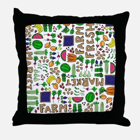 Farmers Market Medley Throw Pillow