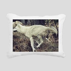"""Running  Arctic  Wolf"" Rectangular Canvas Pillow"