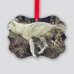 """Running  Arctic  Wolf"" Picture Ornament"