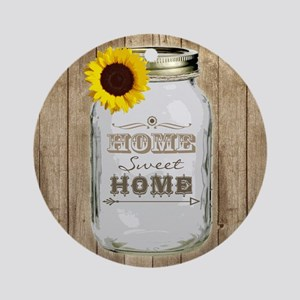 Home Sweet Home Rustic Mason Jar Round Ornament