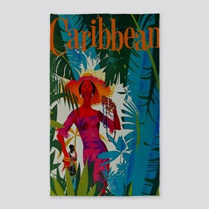 Vintage Caribbean Travel 3'x5' Area Rug