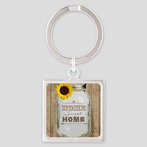 Home Sweet Home Rustic Mason Jar Square Keychain