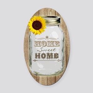 Home Sweet Home Rustic Mason Jar Oval Car Magnet