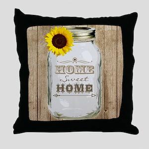 Home Sweet Home Rustic Mason Jar Throw Pillow