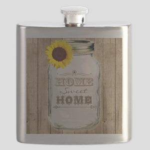 Home Sweet Home Rustic Mason Jar Flask