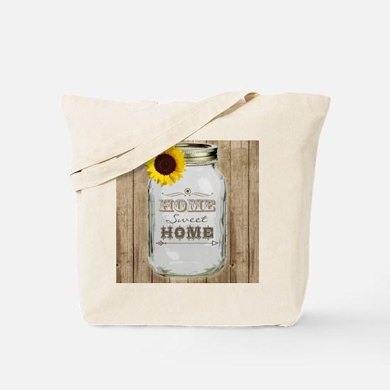 Home Sweet Home Rustic Mason Jar Tote Bag
