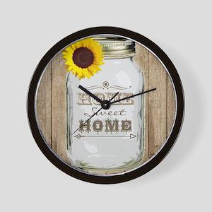 Home Sweet Home Rustic Mason Jar Wall Clock