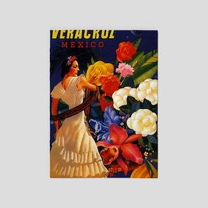 Vintage Veracruz Mexico Travel 5'x7'Area Rug