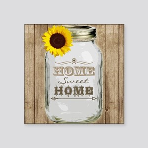 "Home Sweet Home Rustic Maso Square Sticker 3"" x 3"""