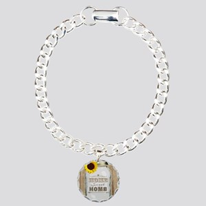 Home Sweet Home Rustic M Charm Bracelet, One Charm