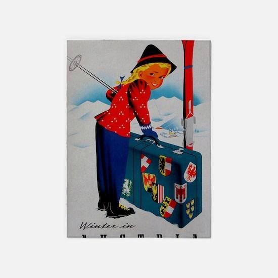 Vintage Austria Ski Travel 5'x7'Area Rug
