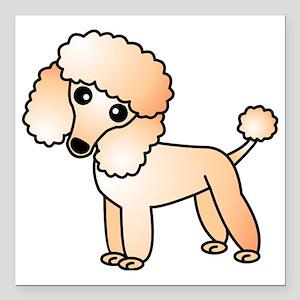 """Cute Apricot Poodle Square Car Magnet 3"""" x 3"""""""