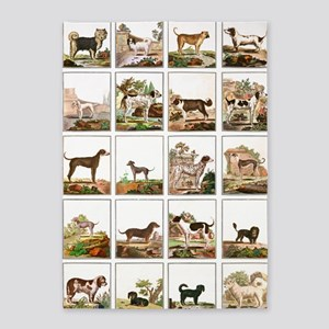 Dog Collection  in Vintage Style 5'x7'Area Rug