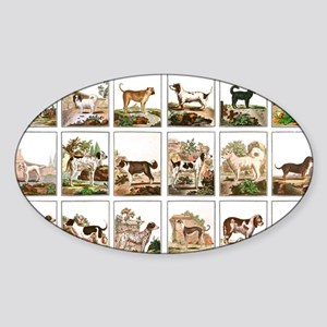 Dog Collection In Vintage Style Sticker (Oval)