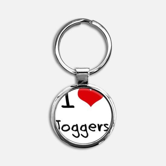 I Love Joggers Round Keychain