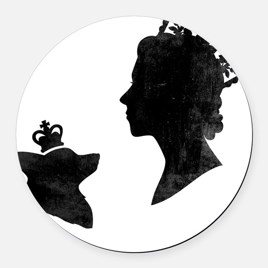 Queen and Corgi Round Car Magnet