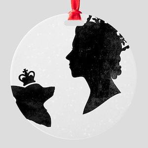 Queen and Corgi Round Ornament