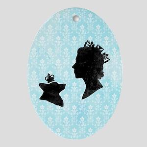 Queen and Corgi Oval Ornament