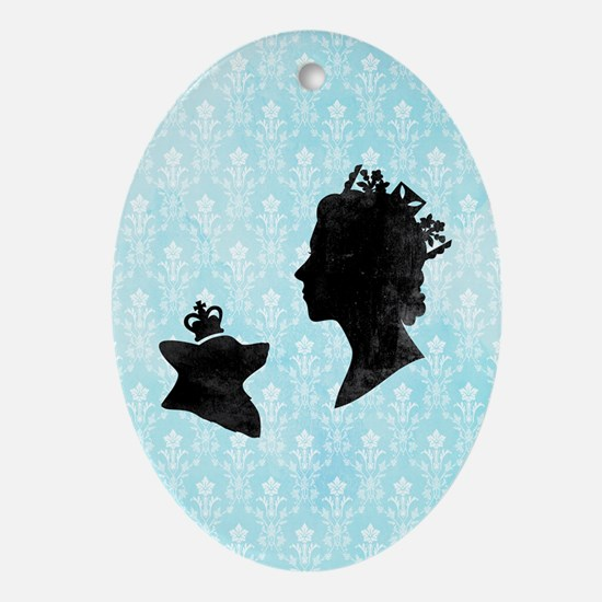Queen and Corgi Oval Ornament