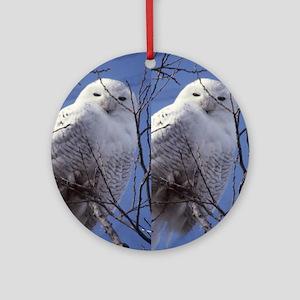 Snowy White Owl, Blue Sky Round Ornament