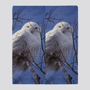 Snowy White Owl, Blue Sky Throw Blanket