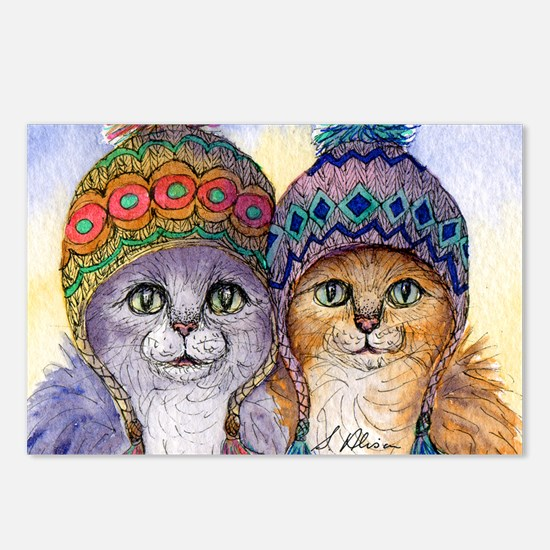 The knitwear cat sisters Postcards (Package of 8)