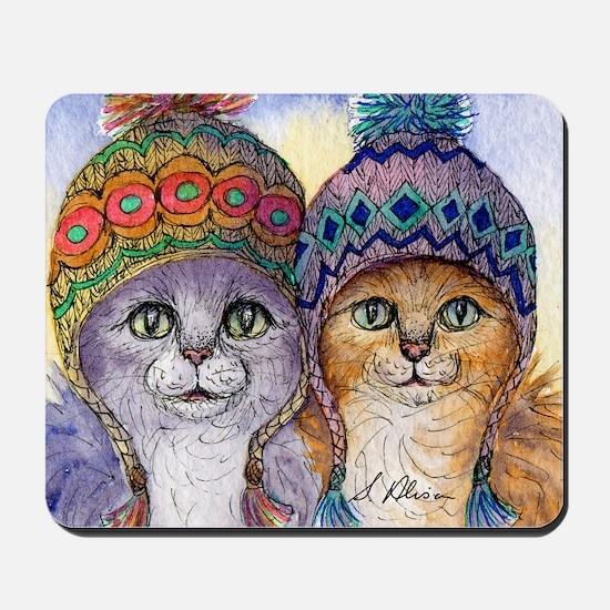 The knitwear cat sisters Mousepad