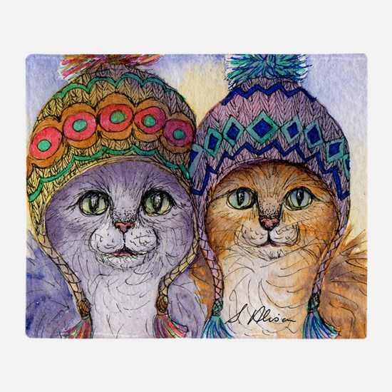 The knitwear cat sisters Throw Blanket