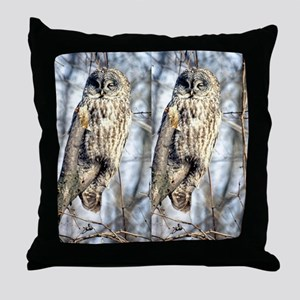 Great Gray Owl in a Tree Throw Pillow