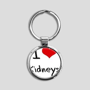 I Love Kidneys Round Keychain
