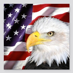 "Freedom Flag & Eagle Square Car Magnet 3"" x 3"""