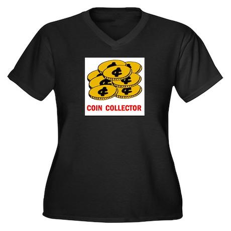 COIN COLLECTOR Women's Plus Size V-Neck Dark T-Shi