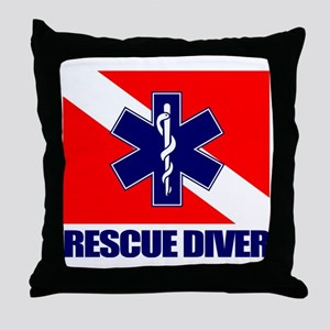 Rescue Diver (emt) Throw Pillow
