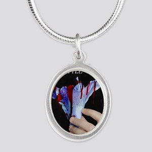 Santa Claus and Little Sister Silver Oval Necklace