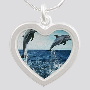 Twin Dolphins Silver Heart Necklace