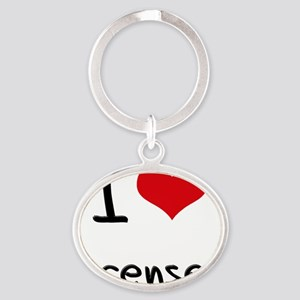 I Love Licenses Oval Keychain