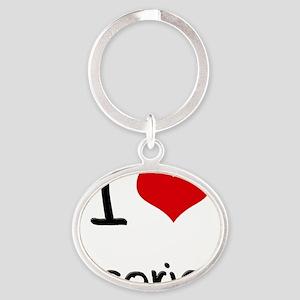 I Love Licorice Oval Keychain