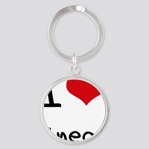 I Love Linear Round Keychain