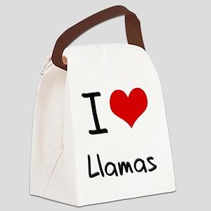 I Love Llamas Canvas Lunch Bag