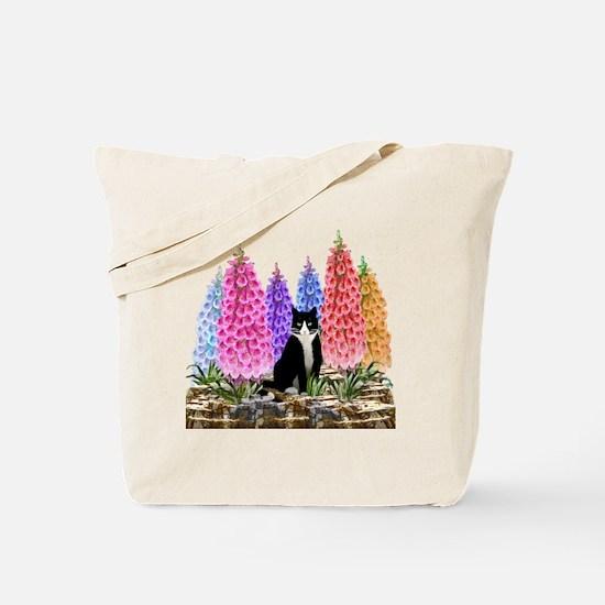 Tuxedo Cat among the Foxgloves Tote Bag
