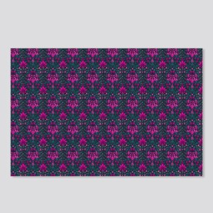 Teal and Pink Floral Eleg Postcards (Package of 8)