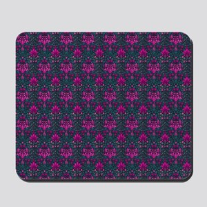 Teal and Pink Floral Elegance Mousepad