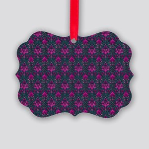 Teal and Pink Floral Elegance Picture Ornament