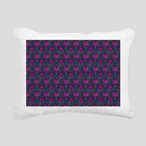 Teal and Pink Floral Ele Rectangular Canvas Pillow